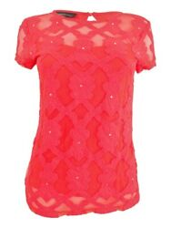 INC International Concepts Women's Embroidered Illusion Top