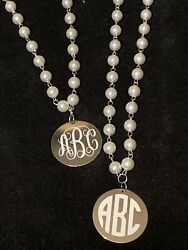 Long Pearl Necklace With Monogram Disc