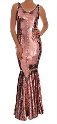 NEW $14200 DOLCE & GABBANA Dress Crystal Pink Sequined Sheath Gown IT40  US6 S