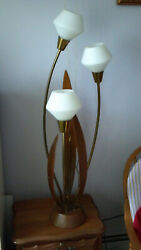 MidCentury Modern Danish Teak Wood 3 Glass Floor High Table Lamp Kitsch Tulip