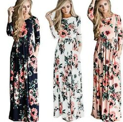 Women Floral Print Long Sleeve Boho Dress Ladies Evening Party Long Maxi Dress $29.99