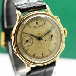 1940's EBERHARD PRE-EXTRA FORT 18K YELLOW GOLD MONOPUSHER CHRONOGRAPH MENS WATCH
