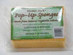 TRADER JOES 12 Pop-Up Sponges Made From Natural Vegetable Cellulose 4x3x1