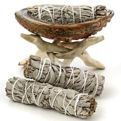 Abalone Shell Natural Wooden Tripod and 3 California White Sage Smudge Sticks