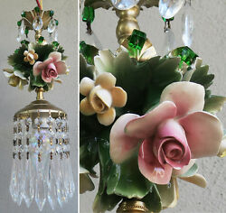 Porcelain Capodimonte Pink Lemon Rose Brass tole chandelier Ceiling vintage lamp $238.00
