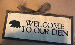 WELCOME TO OUR DEN black bear wood sign Lodge cabin wall decor Country Kitchen