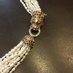 """RARE 10 STRAND 25"""" WHITE PEARL NECKLACE with 14K MULTI JEWELED DRAGON CLASP WOW"""
