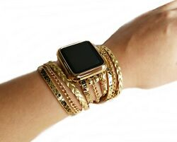 Gold Boho Chic Watch Band For Apple Iwatch 12345 Wrap Snake Leather Band