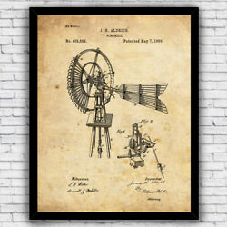 Windmill Vintage Farmhouse Patent Wall Art Print Decor Size and Frame Options $17.00