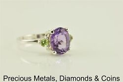 Sterling Silver 3ct Oval Purple Amethyst Green Peridot Accents Ring 925 Sz: 8