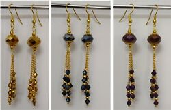 Gold Plated Crystal Faceted Yellow Black Purple Bead Dangle Chandelier Earrings $20.00
