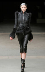 Alexander McQueen Runway 38 Black Tweed Fur Embroidered Jacket Blazer $23k