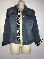 Denim Jacket Medium Embellished Tapestry Front panel cuffs Too She She WJB