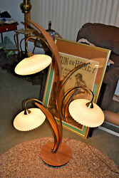 MidCentury Mod Kitsch Tulip Danish Teak Wood 3 Glass Floor Lamp Vtg Rare