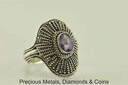 Sterling Silver 1ct Oval Purple Amethyst Beaded Shield Deco Ring 925 Sz: 6