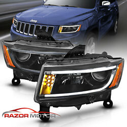 [LED Bar] 2014-2016 Jeep Grand Cherokee LED DRL Projector Black Headlights Pair