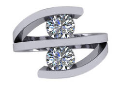 2.00 ct F SI2 round diamond two stone infinity engagement ring 18k white gold