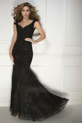 TrumpetMermaid Train Prom Dress With Appliques Lace - BrownChocolate Large $130.00