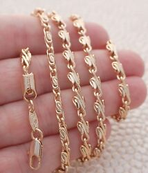 4mm Wire Wrap Link Necklace Chain ~ Rosy Yellow Gold Filled Jewelry 24inch