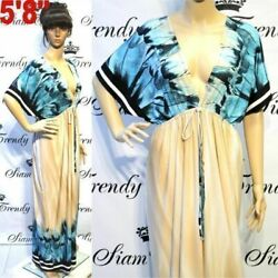 NWT L XL 2X NEW Womens Beige Blue VNeck Evening Party Batwing Maxi Plus Dresses $35.98