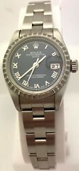 BOX AND PAPER Rolex 79240 Oyster Perpetual Date Blue Dial 26mm Watch w Sticker