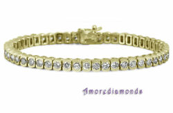 18 ct H SI1 natural round diamond half bezel set tennis bracelet 18k yellow gold