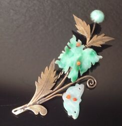 Antique CHINESE SILVER Carved JADE Hair Barrette PIN Chinese hallmark