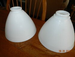 Lot of 2 Vintage 8quot; White Milkglass Waffle Glass Torchiere Floor Lamp Shades $39.99