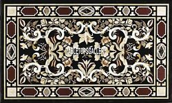 6'x3' Marble Exclusive Dining Marquetry Table Top Library Decorated Inlaid H4000