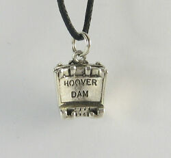 Hoover Dam Pendant .925 Sterling Silver Charm Necklace USA Cord Colorado River