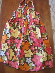 Gymboree Girls Brown Yellow Pink Tropical Floral Lined Cotton Dress Sz 8 EUC