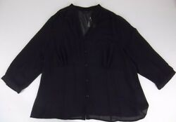 New Plus Size Sheer Blouse Size 20W Black by Investments II