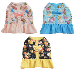 Dog Harness dress spring roses small dog puppy chihuahua pink blue black GBP 18.00