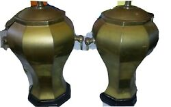 Mid Century Brass Ginger Jar Pair Table Lamps Chinoiserie Palm Beach Chic $155.00