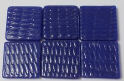 12 of 24x24mm Square Vintage Czech Glass Blue Textured Cabochons Square Tiles $8.77