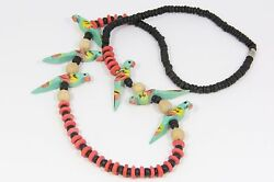 Parrot Necklace NOS Vintage 1980's Wooden Beads Painted Black Red Color 26