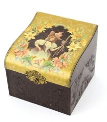 Vtg Jewelry Box Trinkets Watches Etc Ornate floral flower design Chest Old