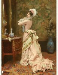 Victorian Trading Co. Toilette Print Woman in Pink Looking in Mirror Rougeron $12.95