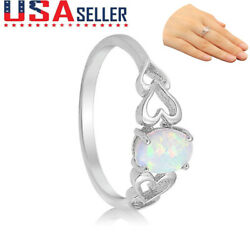 Luxury White Opal 925 Sterling Silver Oval Heart Cutout Promise Ring Sizes 6-10