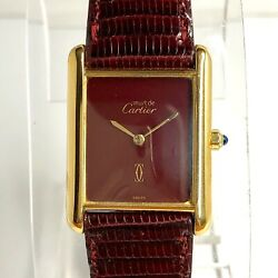 CARTIER TANK Quartz 18K Gold Electroplated Ladies Watch New CARTIER Band In Box