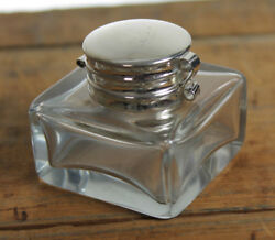 Vintage Antique Style Square Clear Glass Inkwell Bottle ink $14.99