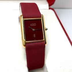 CARTIER TANK Quartz 18K Gold Electroplated Ladies Watch In Box POLISHED