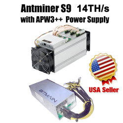 BITMAIN S9 ASIC Antminer Bitcoin Miner 14 THs With APW3++ PSU included IN HAND