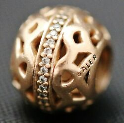 Authentic Pandora ALE 925 Sterling Silver Rose Path To Harmony Charm 780002CZ