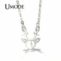UMODE Fashion Deer Long CZ Pearl Necklace & Pendants Women Jewelry Accessories