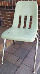 30quot; Virco Green Student High School Chair Hard Plastic Chrome Legs Office Vtg $27.99