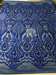 4 Way Stretch Royal Blue Fancy Fabric Embroidered On Mesh Sold By The Yard