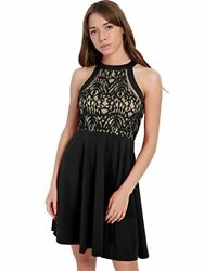 PZZ BEACH Halter Neck Lace Patchwork Sleeveless Swing Cocktail Party Dress Med $15.50