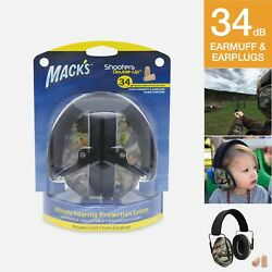 Mack's Shooters Double-Up Ultimate Hearing Protection System Earmuffs + Earplug
