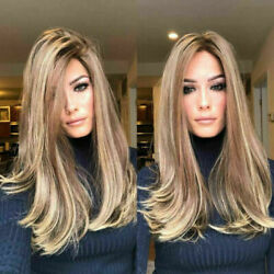 70cm Mix Gold Blonde Gradient Natural Long Straight Wavy Synthetic Hair Full Wig